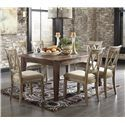 Signature Design by Ashley Mestler 7-Piece Table Set with Antique White Side Chairs with Upholstered Seats - D540-125+6x102