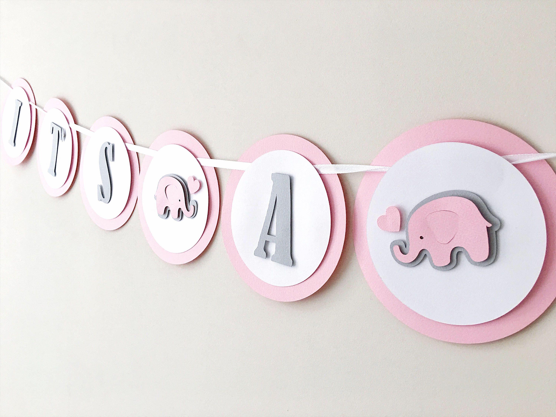 Elephant Girl Baby Shower Banner Baby Girl 1st Birthday Party