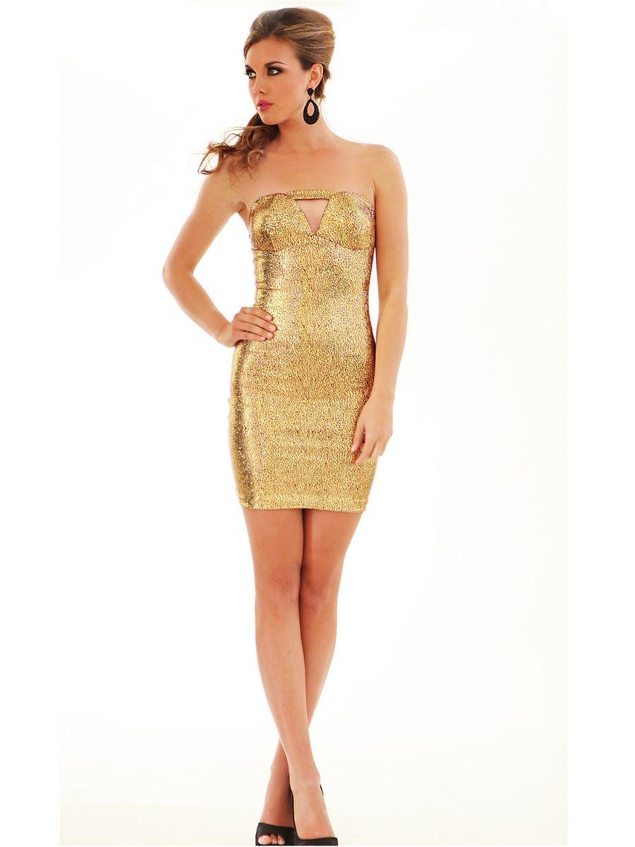 Vintage strapless sleeveless gold sequined short sheath style