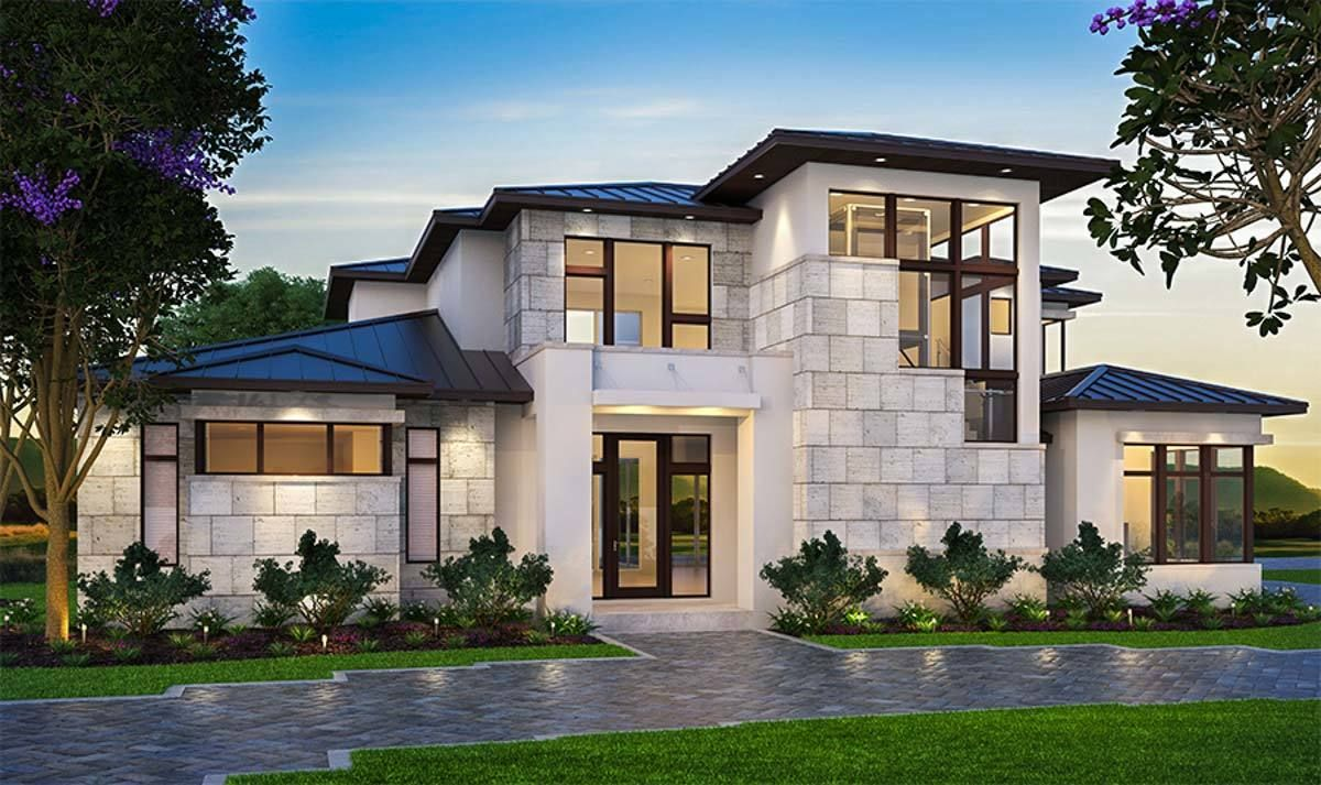 Plan 86058bw Well Planned Contemporary Home Modern Mediterranean Homes Mediterranean Homes Mediterranean Homes Exterior
