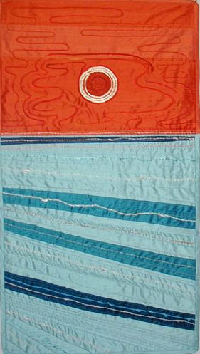 """The Ring of Fire,"" silk quilt with embroidery.  From a photo I took of an annular eclipse at sunset off Coronado, California."