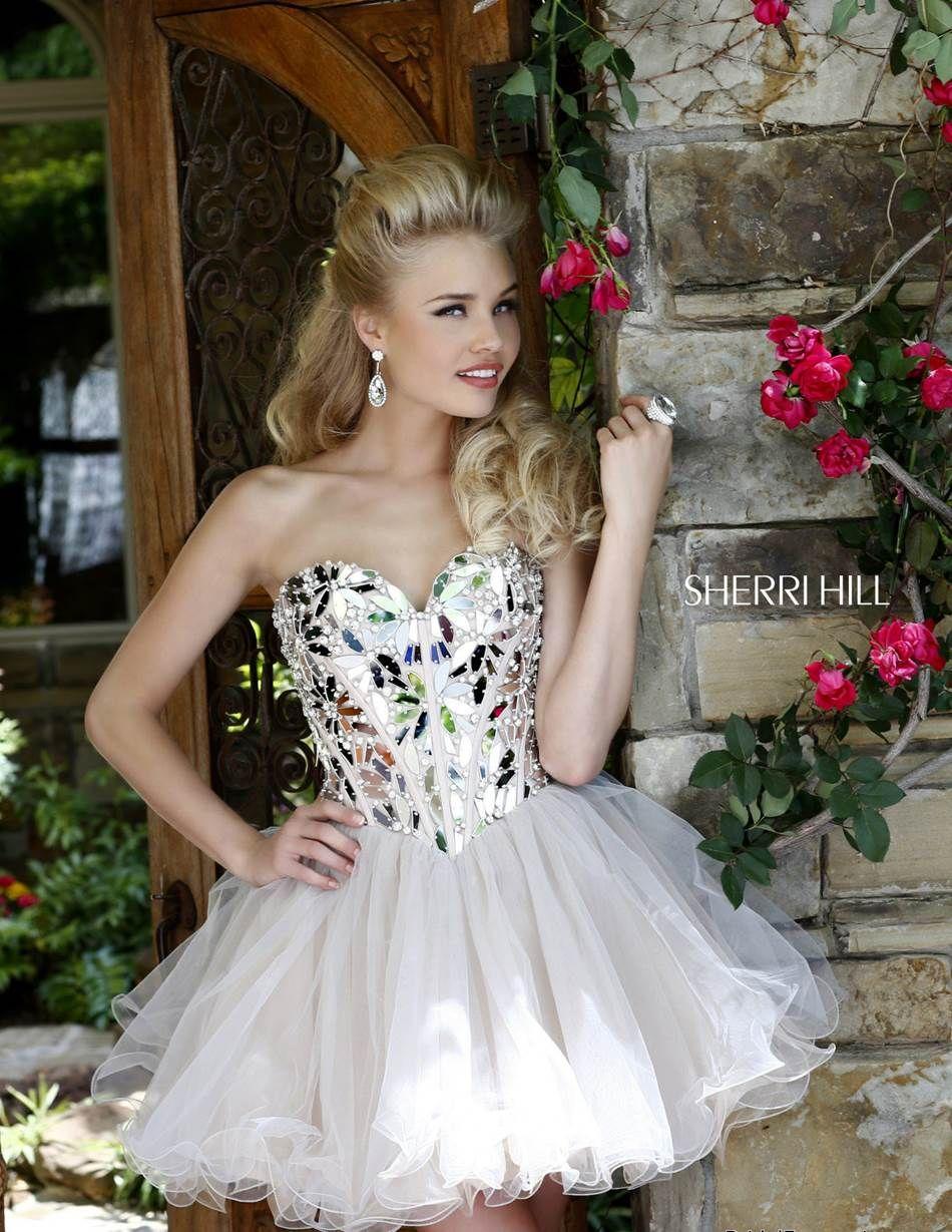 Sherri Hill Style 11131 Size 8 Silver/Yellow