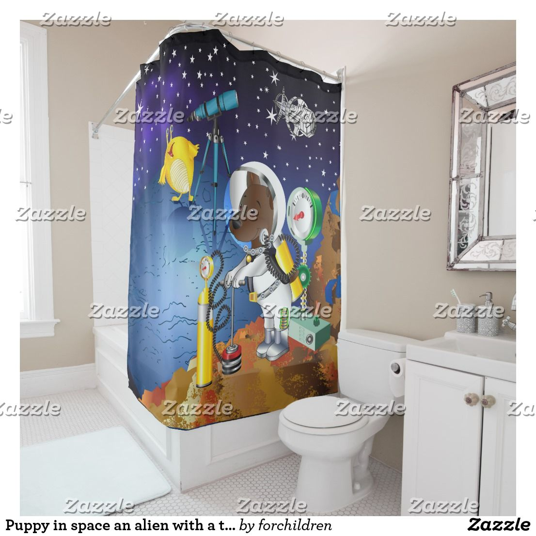 Puppy In Space An Alien With A Telescope Shower Curtain