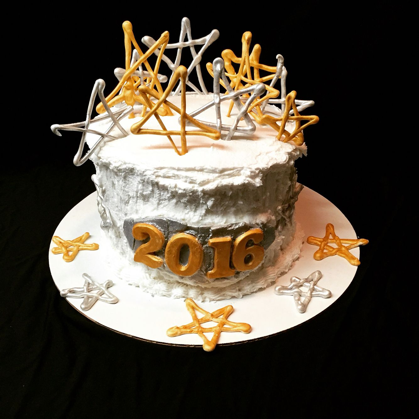 New Years Eve decorated cake gold luster dust silver ...