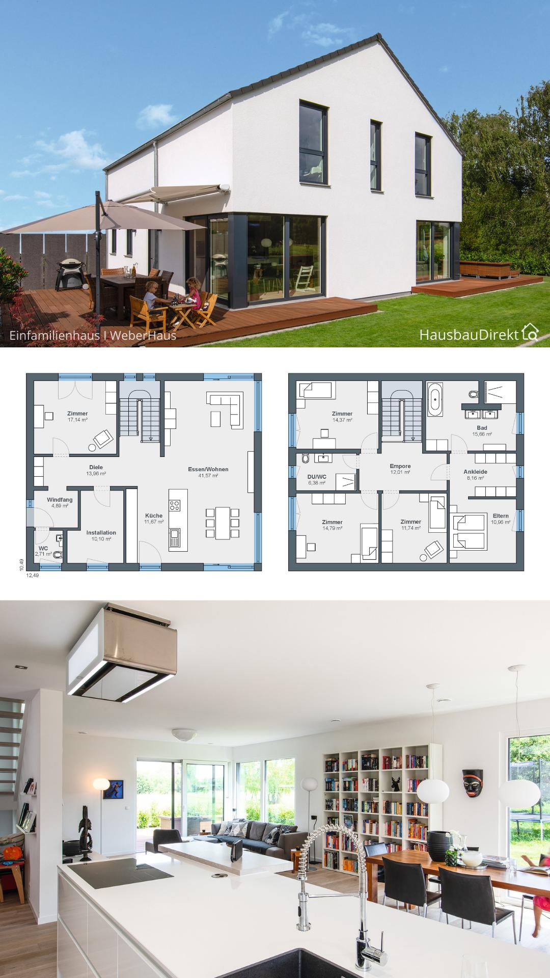 Modernes Haus mit Satteldach ohne Dachüberstand & Garage bauen Einfamilienhaus Grundriss Fertighaus