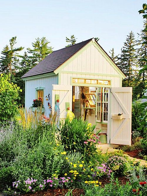 backyard shed design backyard workshop Jardins, Jardin maison