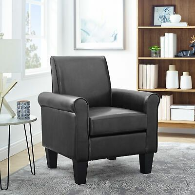 Modern Club Chair Accent Faux Leather Single Sofa Armchair In 2020 Club Chairs Living Room Arm Chairs Living Room Single Sofa Chair