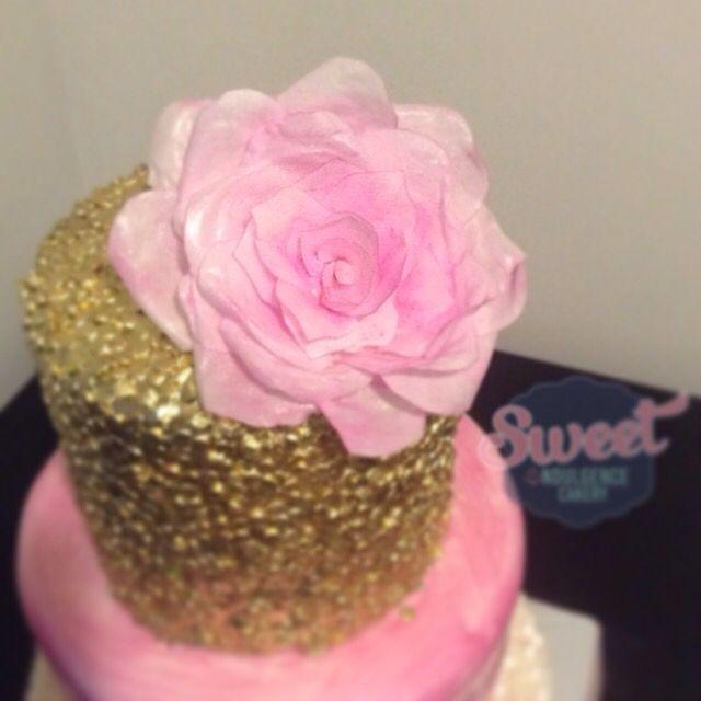 Sequin cake wafer paper rose wedding cake, birthday cake, custom cake, baby shower cake