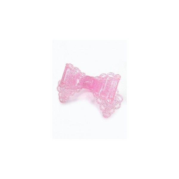 【新品】ラブリーリボンプラスチックリング (ピンク) ❤ liked on Polyvore featuring lolita and rings