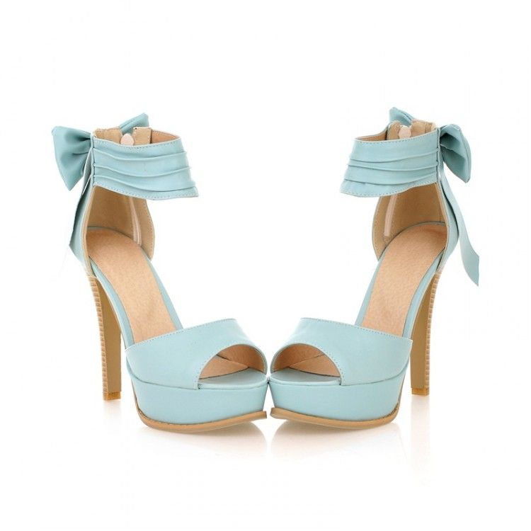 860646f771e5 Stylish High Heel Ankle Strap Blue Bow Design Sandals on Luulla