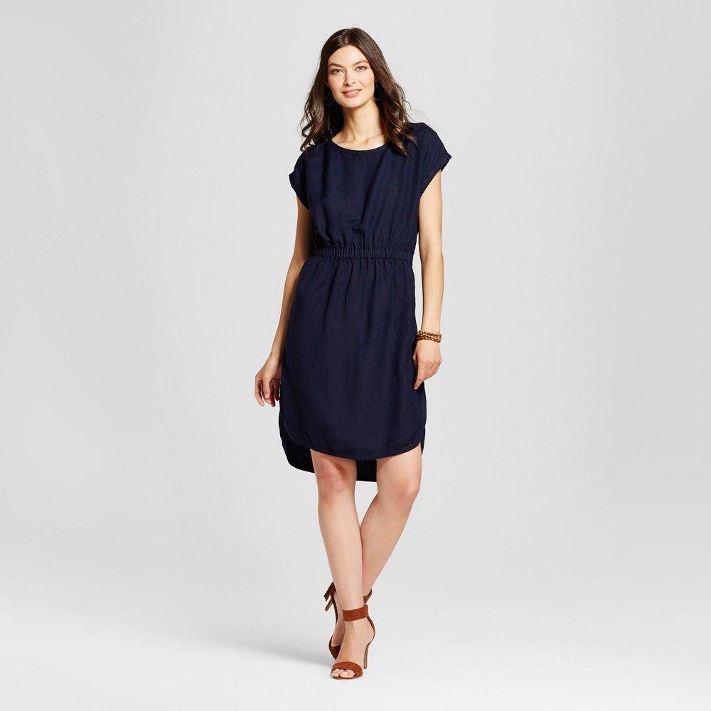 468c92ec252 Women s Linen Dress Blue Linen S - Merona