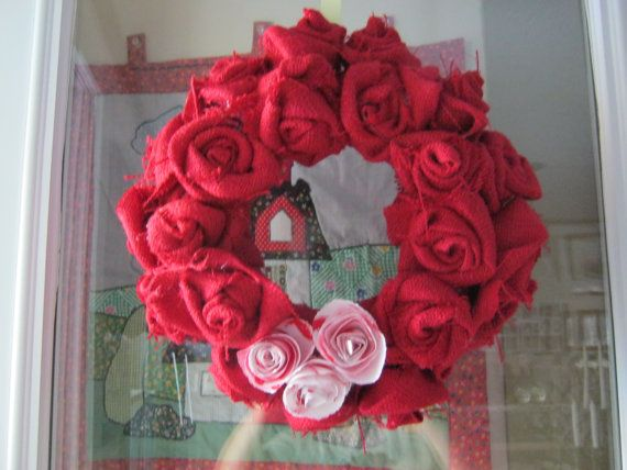 Valentines Wreath Burlap and Paper Hand Crafted by bachsbarn, $30.00