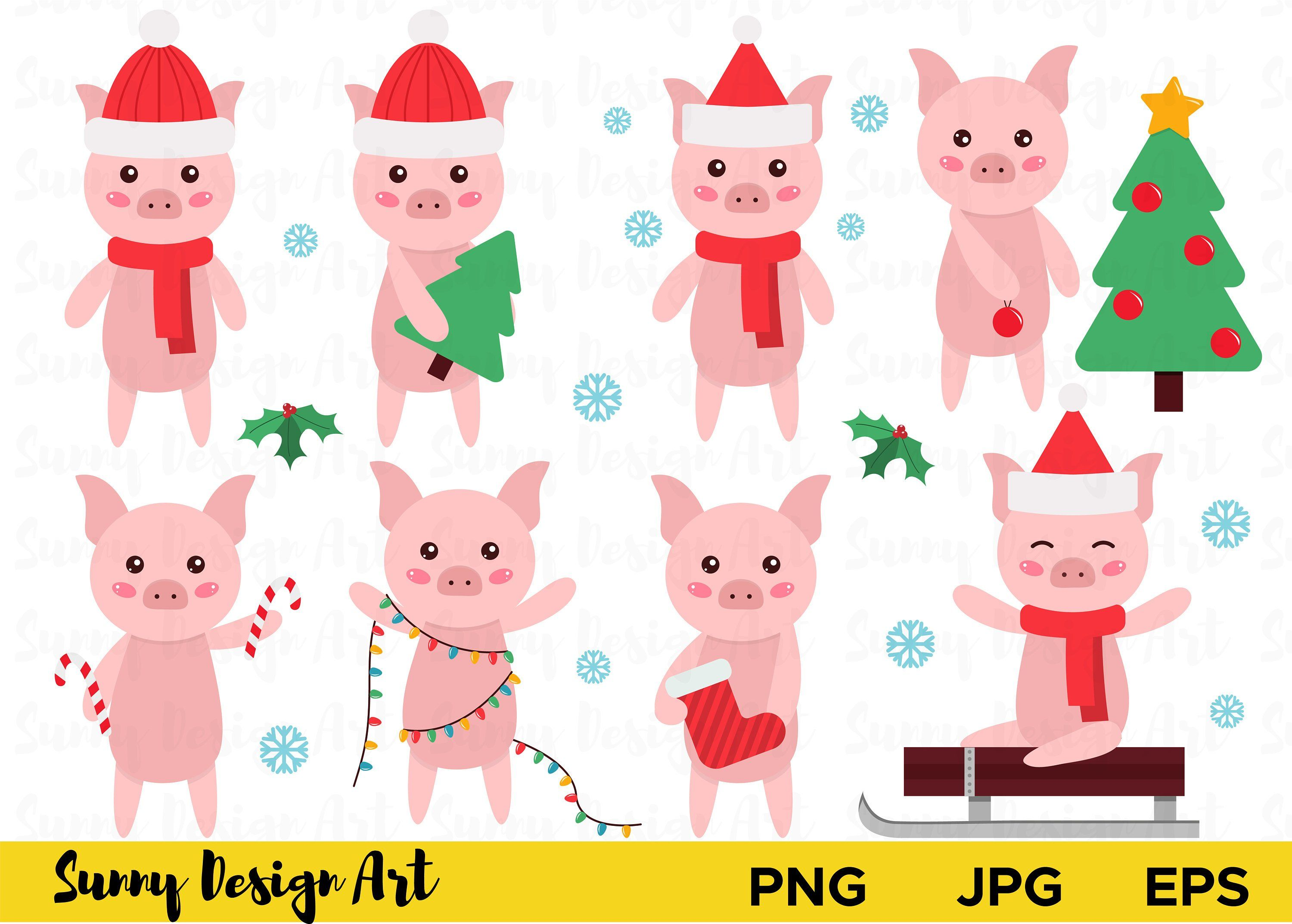 cute pigs clipart new year 2019 symbol pig christmas [ 3000 x 2147 Pixel ]