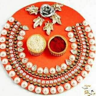 Pin by sukhpreet kaur on pooja thali pinterest for my daughter who just got married this year so that she doesnt have any problem in arranging the thaliging the t orange pearl pooja thali online junglespirit Choice Image