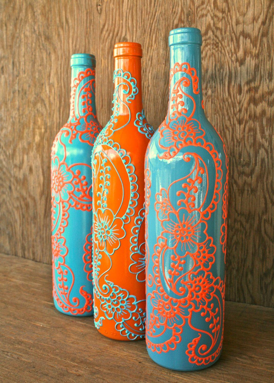 I love blue and orange diy baby pinterest painted wine set of 3 hand painted wine bottle vases turquoise and coral orange vibrant henna style design via etsyfancy bottles floridaeventfo Gallery