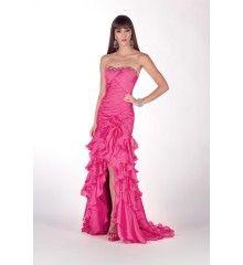 Dropped Strapless Ruffle Crystal Chiffon Long Pink Prom Dress