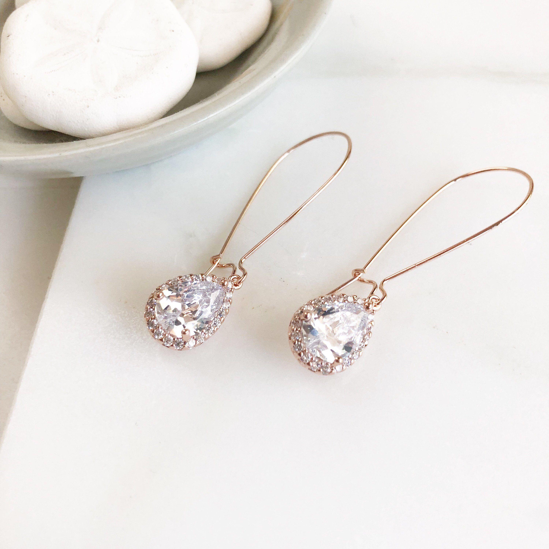 e4540a6b4 Rose Gold Drop Earrings. Bridesmaid Gift. Drop Earrings. Wedding Jewelry.  Simple Rose Gold Bridal Earrings. Dangle Earrings. Jewelry Gift.