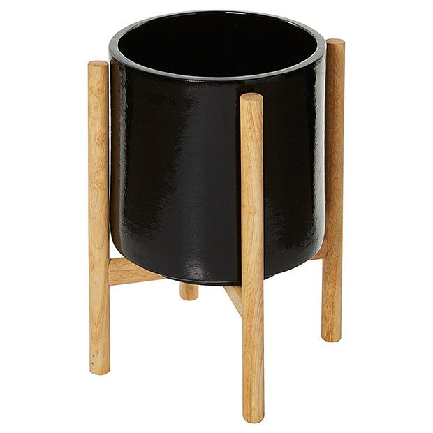 Ceramic Pot With Wooden Stand Black Sevs Wooden
