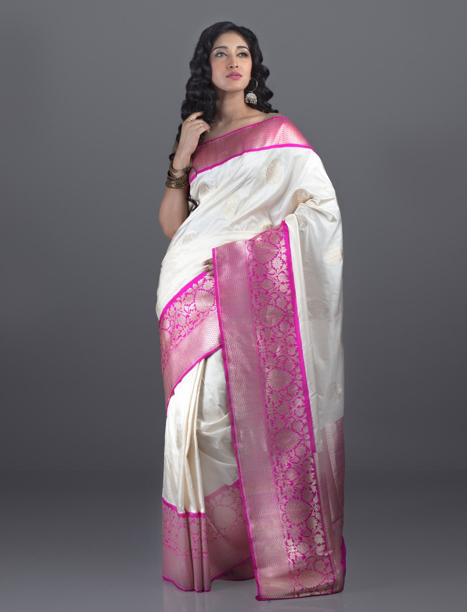 58f8df61233193 Half White Banarasi Katan Saree with Pink Border | Six yards of ...