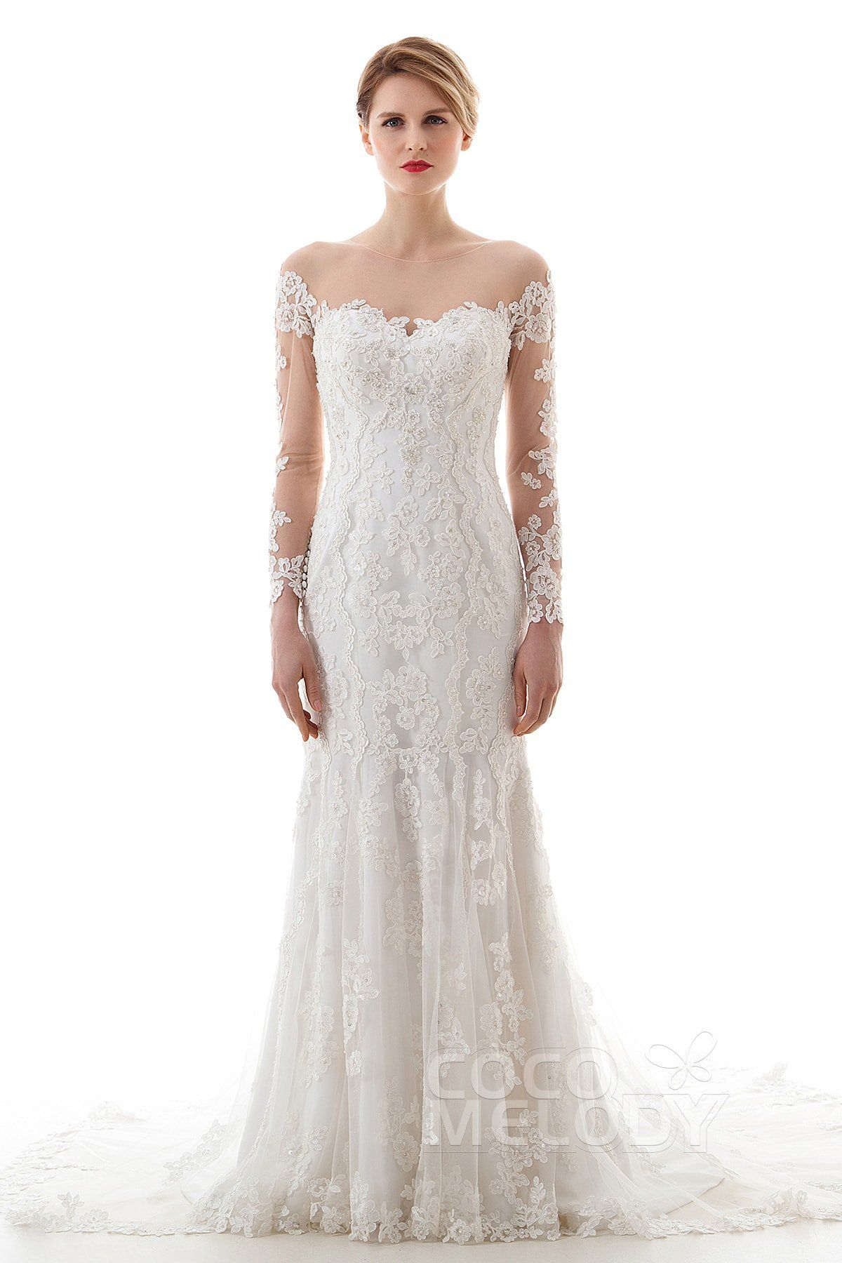 Charming trumpetmermaid illusion dropped court train lace and tulle