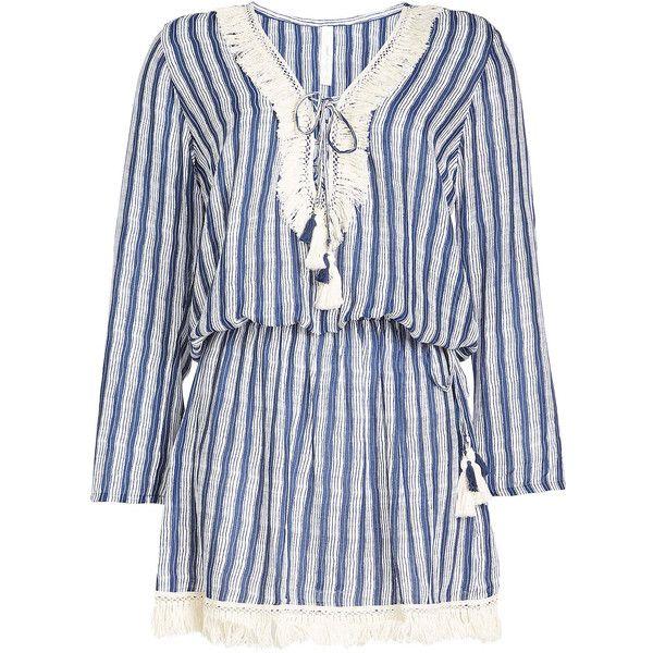 Cool Change Fringe Tunic (€265) ❤ liked on Polyvore featuring tops, tunics, black, embellished tunic, boho tunic, long sleeve tops, fringe tunic and boho tops
