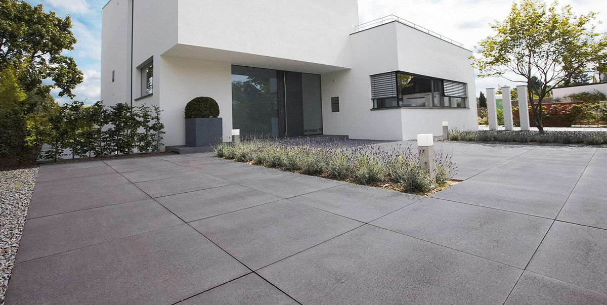 Voortuin Ideeën Met Oprit Beton Google Zoeken Driveway - Betonplatten dunkelgrau