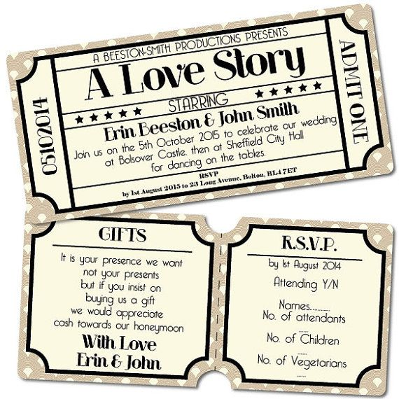 Vintage Retro Cinema Ticket Style Wedding by WhyteWeddingsUK - printable movie ticket template