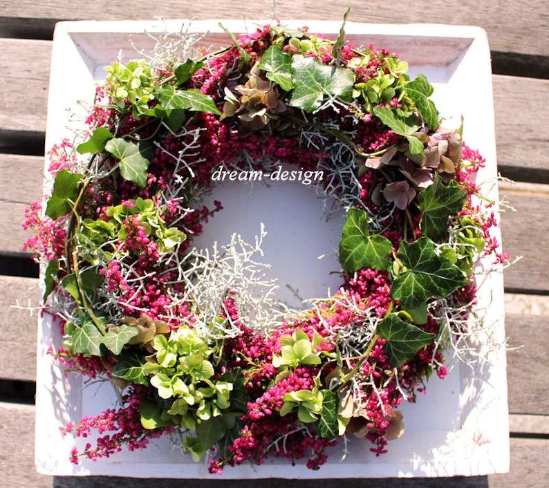 Photo of freshly bound natural wreath AUTUMN MAGIC autumn wreath heather wreath table wreath autumn decoration AUTUMN