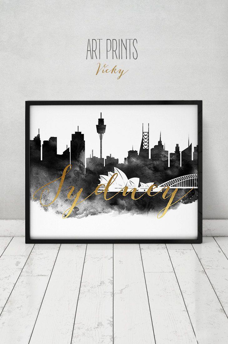 Sydney print watercolor poster black and white wall art sydney skyline australia city prints faux gold text home decor artprintsvicky by