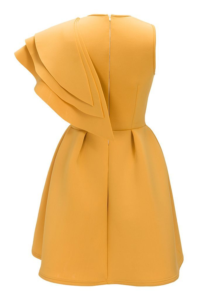 Yellow Layered Ruffle Sleeve Mini Dress_Mini Dress_Dresses_Sexy Lingeire