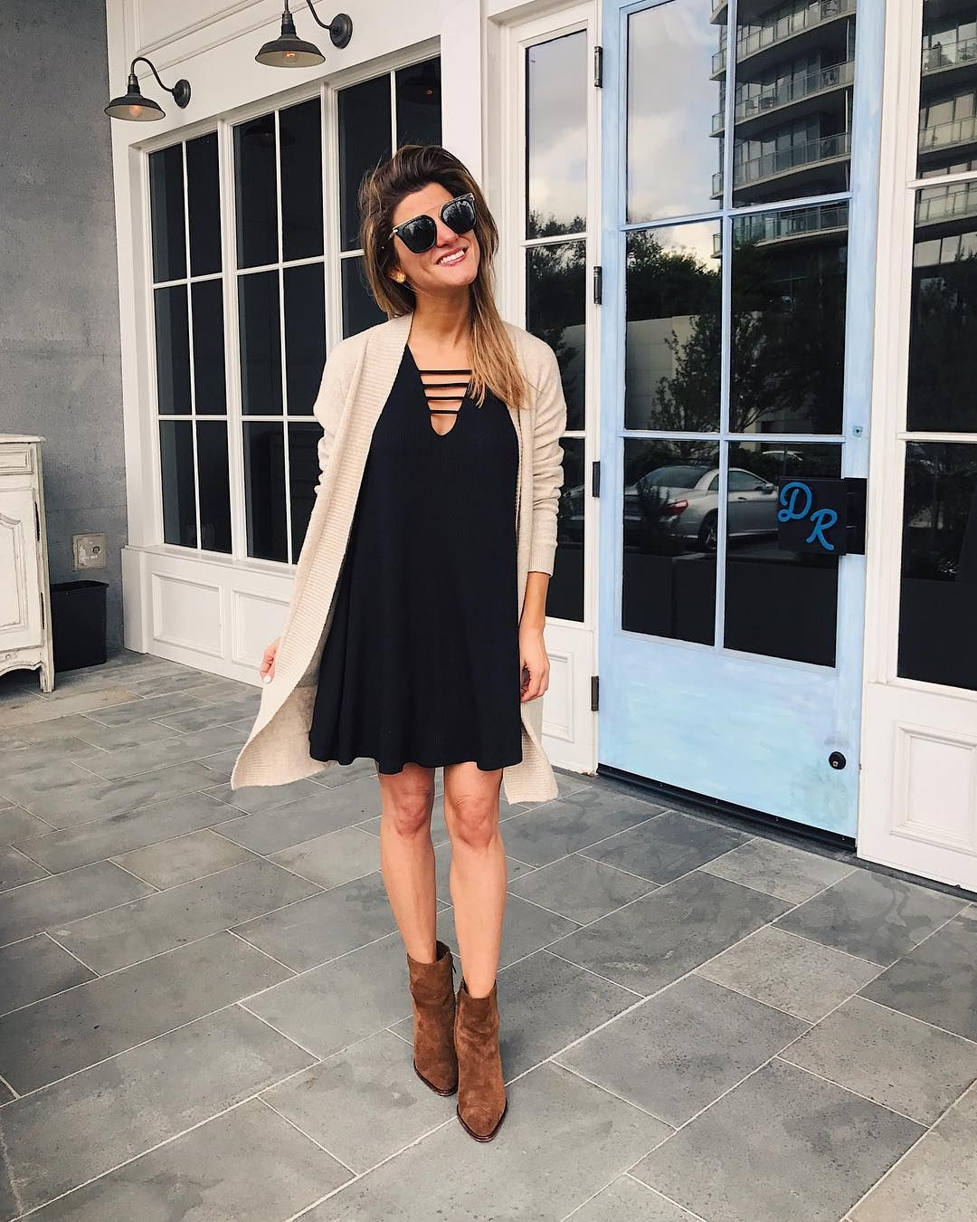 f3243c2cb09 Fall outfit idea with black swing dress and cardigan