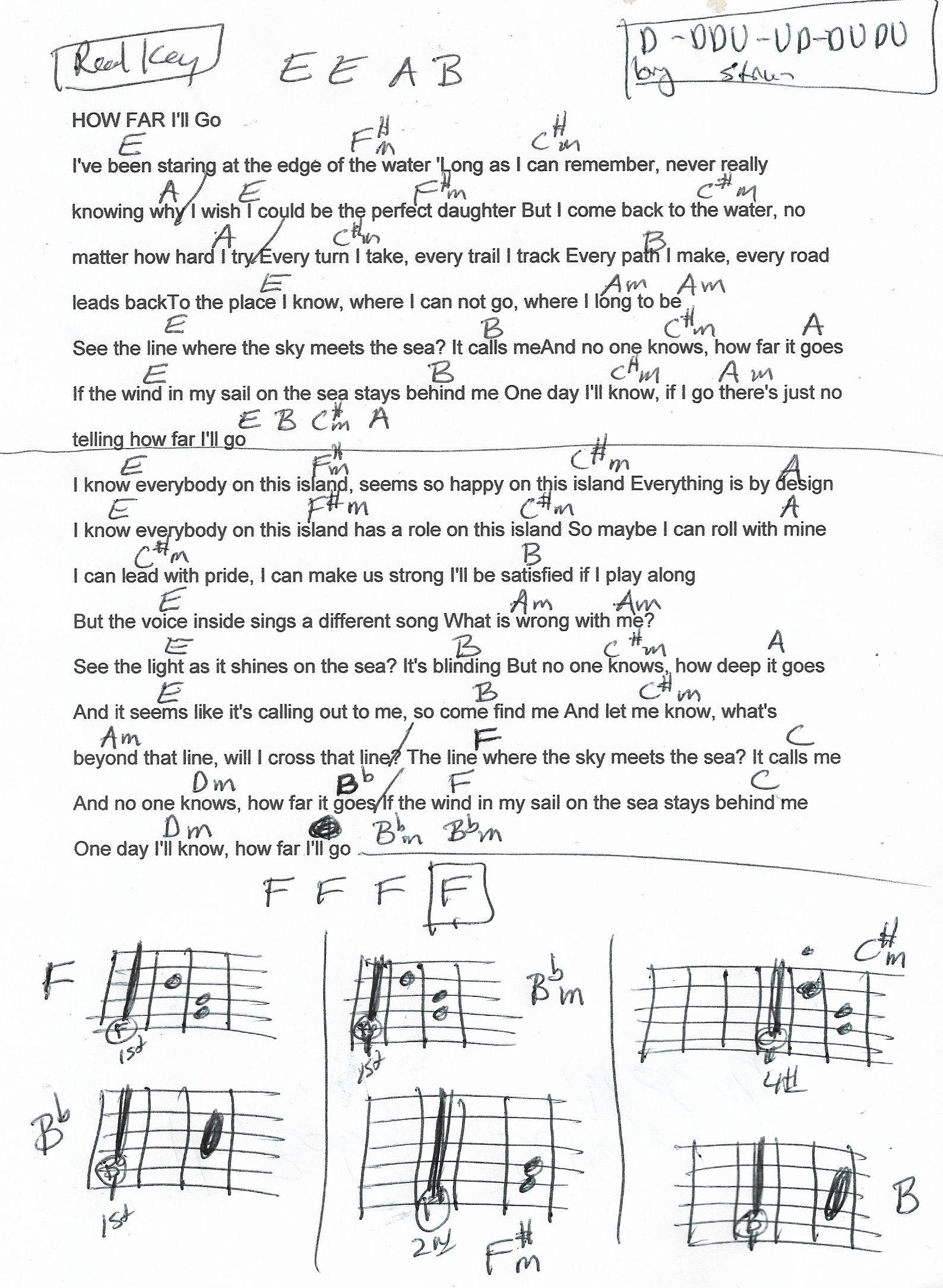 How Far I Ll Go Moana Guitar Chord Chart In E F Major Real