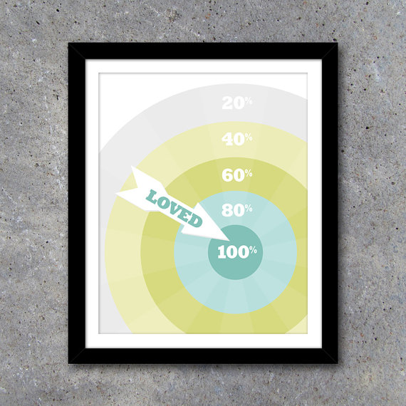 Dartboard 100% Loved Modern Wall Art with BONUS Matching Card – 8x10 ...