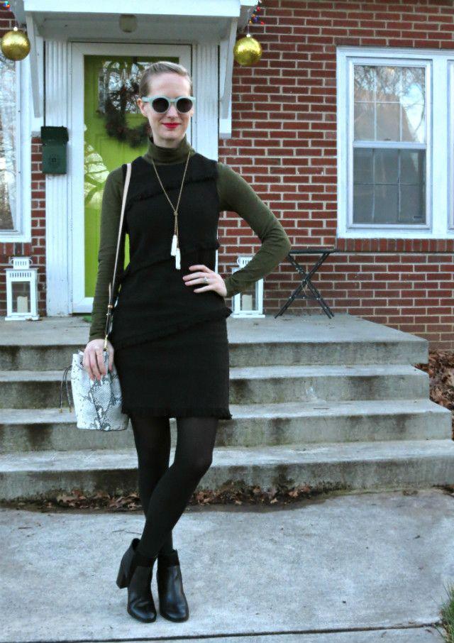 Fringe Lbd Turtleneck Under Dress Ankle Boots With Dress Casual