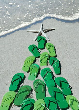 Flip Flop Tree Boxed Christmas Cards   Christmas at the Beach ...