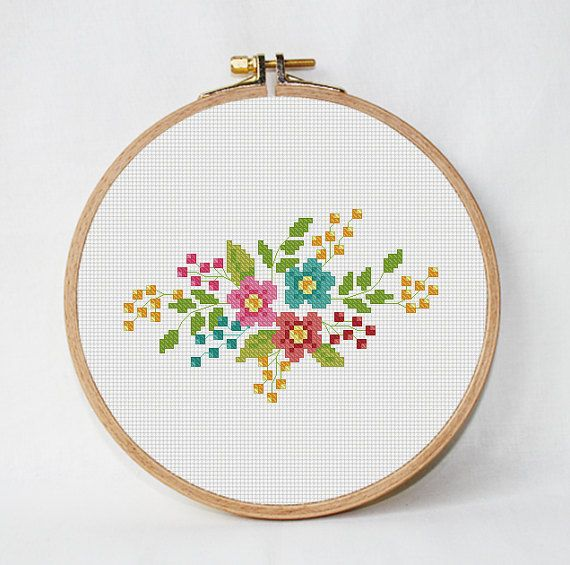 retro flowers cross stitch pattern, counted cross stitch, floral ...