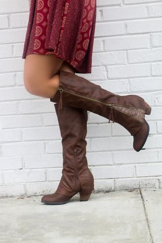 64f152ae6442 NOT RATED Celestial Falls Brown Heeled Boots With Double Zipper   Scalloped  Lace Detail - Amazing
