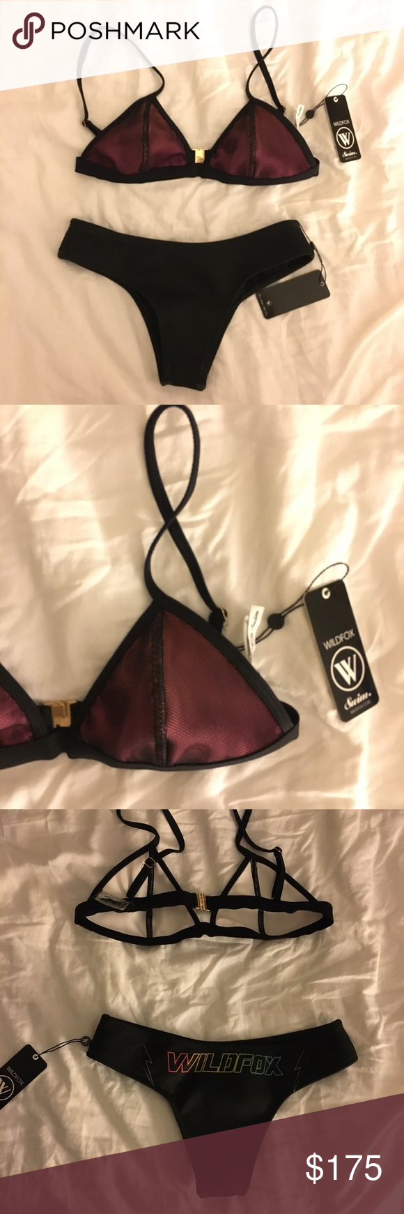 "Wildfox bikini Cheeky bottoms with 7.5"" rise, 13"" waist across. Top band is 28.5"" flat from clasp to clasp. 6.5"" cup bottom. Neoprene material. Mesh and neoprene on top. Wildfox graphic on bottom Wildfox Swim Bikinis"