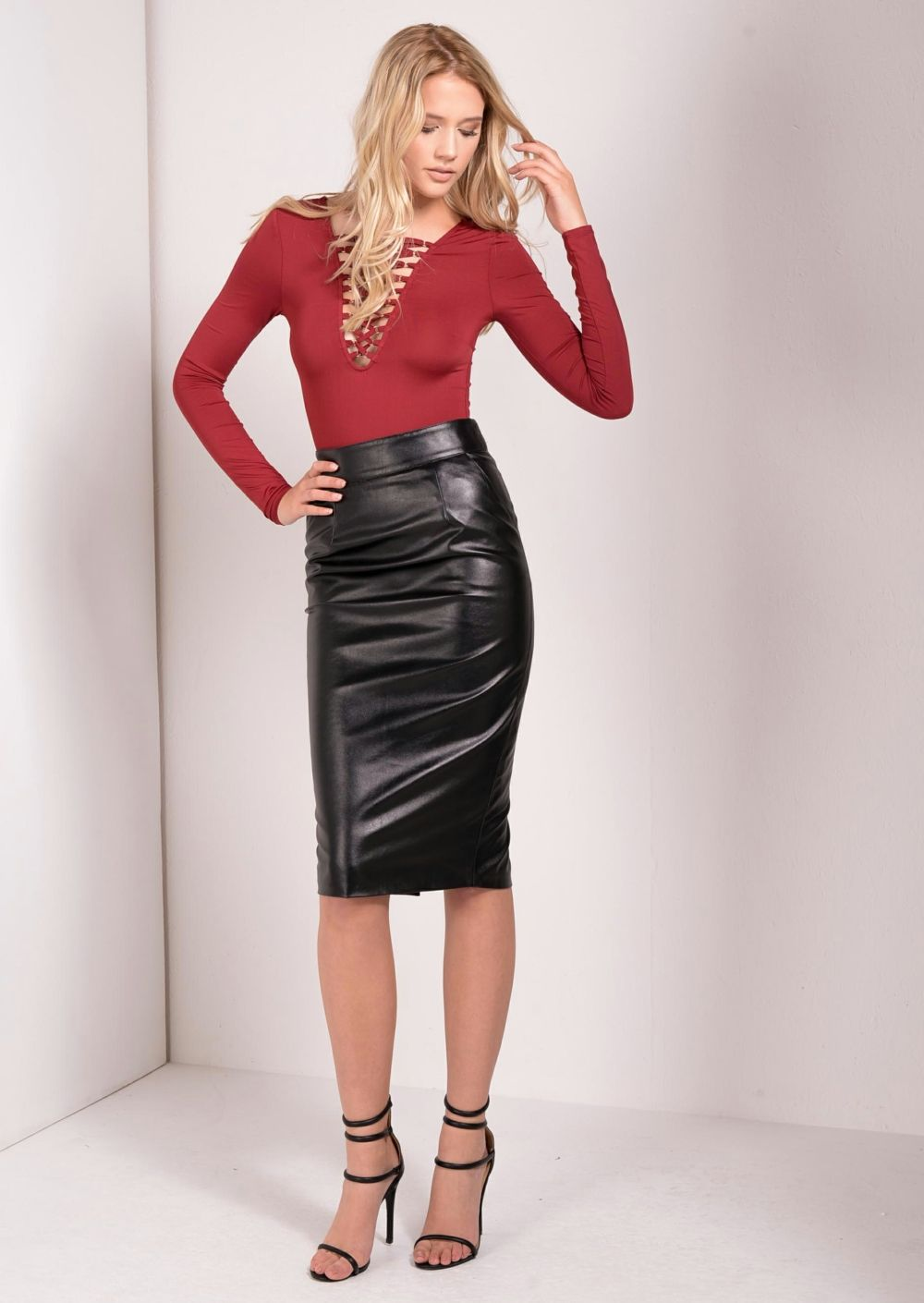 Kallie Leather Look Midi Skirt | Midi skirts | Pinterest | Skirts ...
