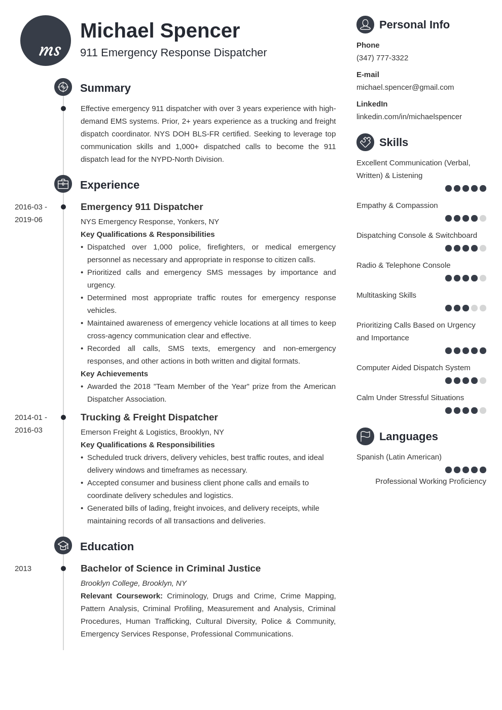 Dispatcher Resume Example Template Primo Resume Examples Job Resume Examples Resume Layout