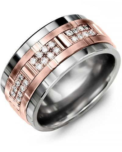 Mens Diamond Tungsten Carbide Wedding Ring With 10kt Rose Gold Inlay 11mm Comfort Fit