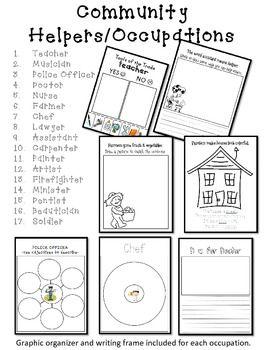 Community Helper Occupations Packet Kindergarten 1st Social