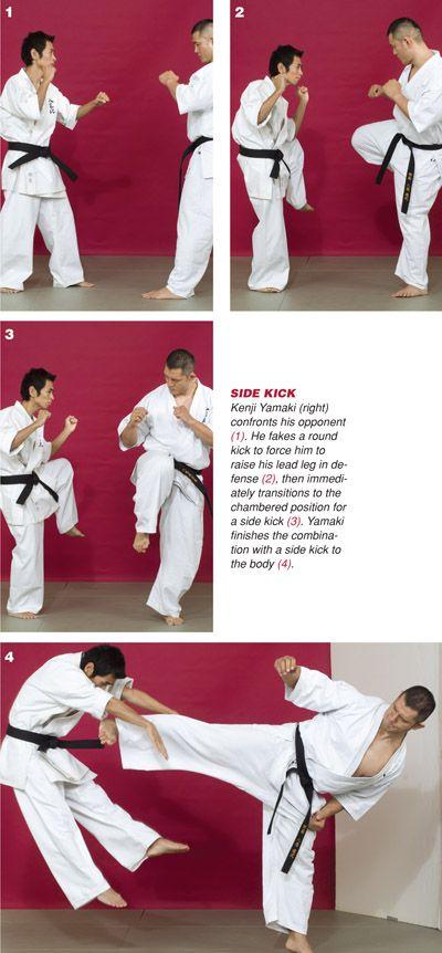 Kenji Yamaki kyoksuhin karate side kick techniques.