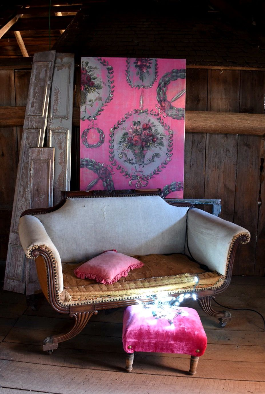 Deconstructed settee jennifer lanne pink painting with