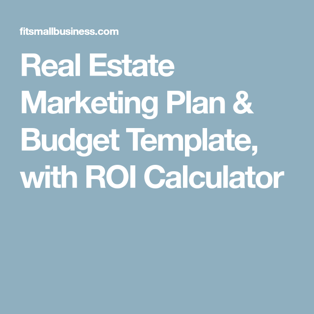 Real Estate Marketing Plan U0026 Budget Template, With ROI Calculator