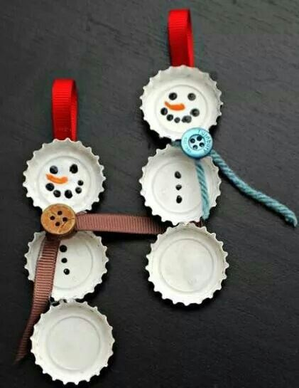 Easy DIY Christmas Ornament Ideas   Bottle Cap Snowman   Click Pic For  Holiday Craft Ideas! Look At My Board For MANY More Diy Gifts!