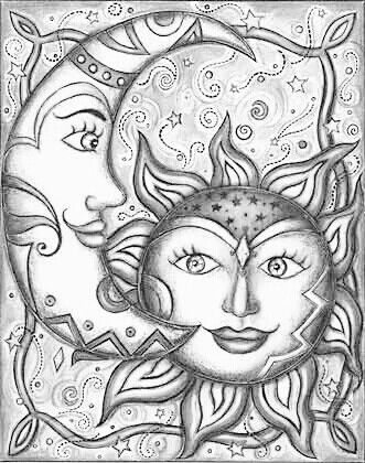 Adult Coloring Pages Sun Moon Images, Stock Photos & Vectors ... | 420x331