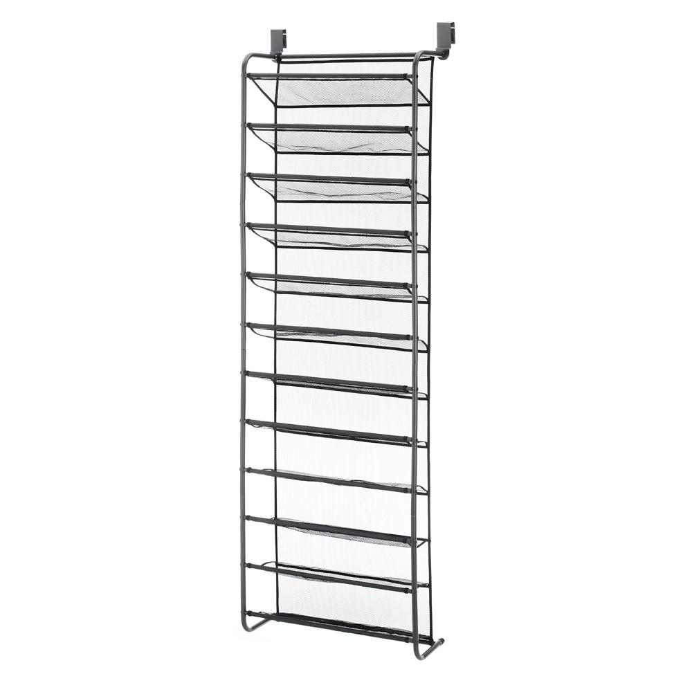 36 Pair Gunmetal Grey Over The Door Shoe Rack Metal Organizer