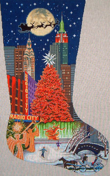 tapestry tent needlepoint christmas stockings | DJ DESIGNS - NEW YORK STOCKING & tapestry tent needlepoint christmas stockings | DJ DESIGNS - NEW ...