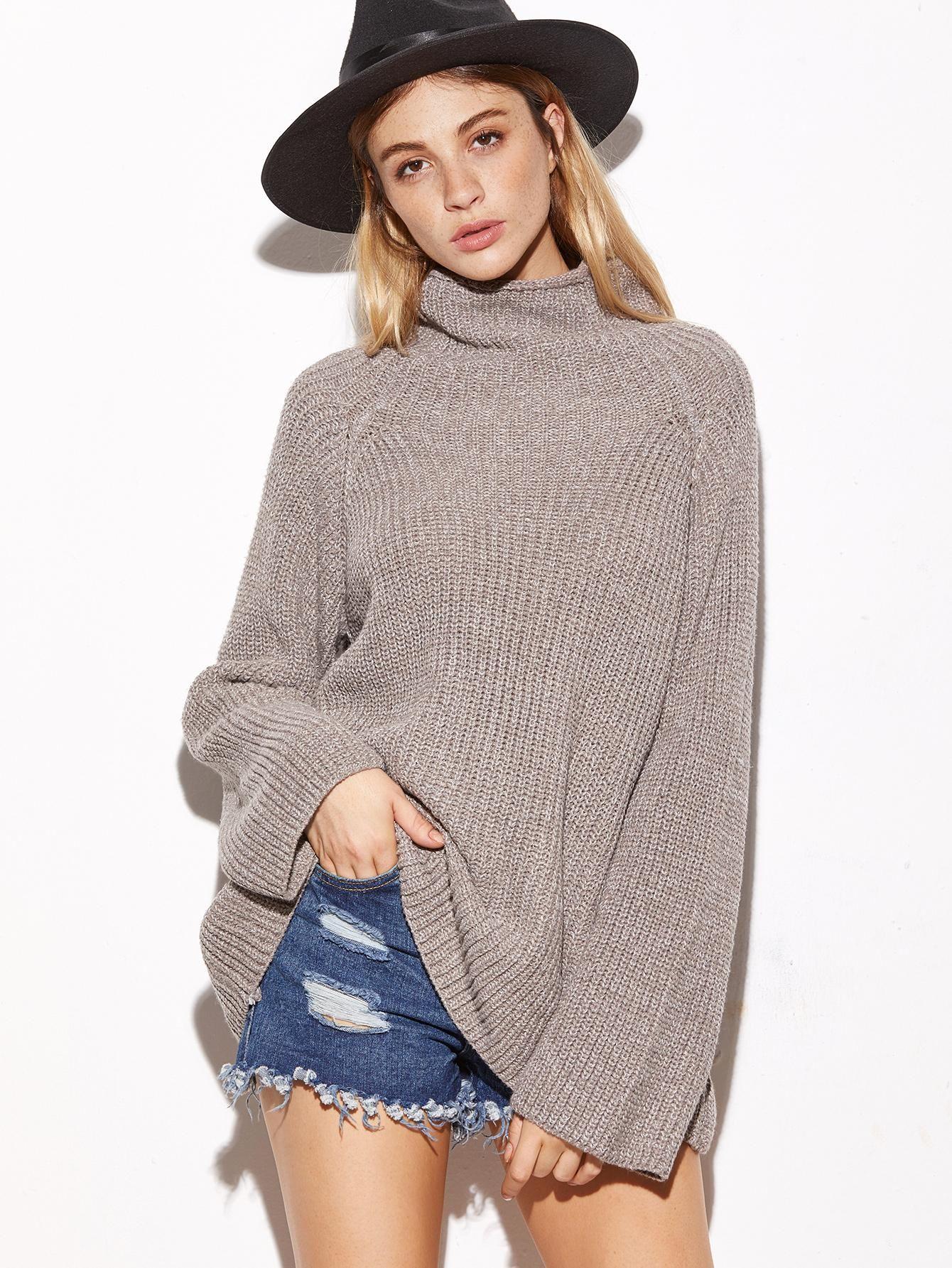 SheIn - #SheIn Turtleneck Raglan Sleeve Loose Sweater - AdoreWe ...